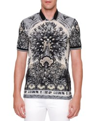Dolce And Gabbana Peacock Print Short Sleeve Polo Shirt Gray