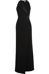 Balenciaga Satin Trimmed Wrap Effect Crepe Gown