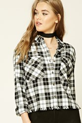Forever 21 Frayed Plaid Flannel Shirt Ivory Black