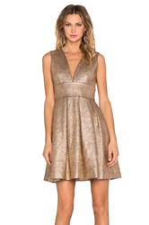 Minty Meets Munt Plunge Neck Dress Metallic Gold