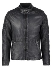 Mustang Logan Leather Jacket Indigo Blue Grey