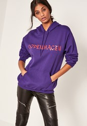 Missguided Purple Copenhagen Slogan Hoodie