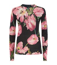 Dolce And Gabbana Floral Print Cashmere Silk Jumper Female Pink