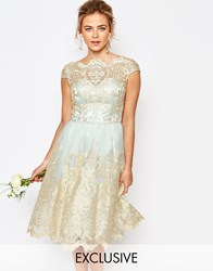 Chi Chi London Premium Metallic Lace Midi Prom Dress With Bardot Neck Morning Mist Gold Green