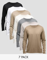 Asos Long Sleeve T Shirt With Crew Neck 7 Pack Multi
