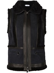 Vince Zip Up Panelled Gilet Black