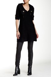 Chaudry Ribbed Knit Tunic Sweater Black