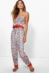 Boohoo Boarder Print Woven Cami Top Trouser Co Ord Red