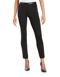 Calvin Klein Faux Leather Trimmed Skinny Pants Black