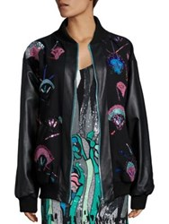 Roberta Einer Tweed And Leather Applique Bomber Jacket Black