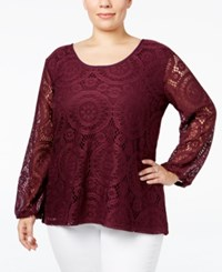 Ing Trendy Plus Size Long Sleeve Lace Top Plum