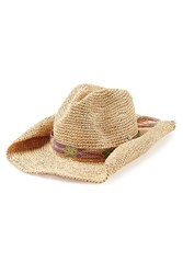 Florabella Raffia Hat With Woven Band Beige