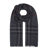 Burberry Shoes And Accessories Gauze Giant Check Wool Silk Scarf Female Charcoal