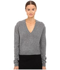 Mcq By Alexander Mcqueen Lambswool Basic V Neck Grey Melange Women's Clothing Gray
