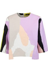 Raoul Printed Linen And Cotton Blend Top Purple