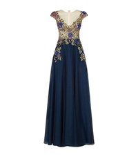 Patricia Bonaldi Floral Embroidered Cap Sleeve Gown Female Navy