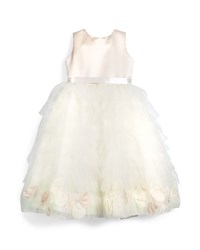 Joan Calabrese Sleeveless Satin And Tiered Tulle Dress Petal Ivory