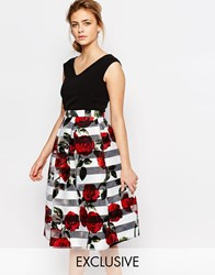 Closet V Front 2 In 1 Midi Dress With Rose Stripe Black Floral Print