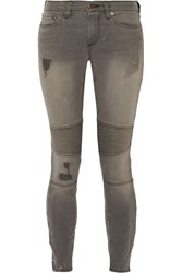 Simon Miller Carbon Distressed Low Rise Skinny Jeans Gray