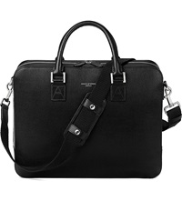 Aspinal Of London Mount Street Large Saffiano Leather Tech Bag Black