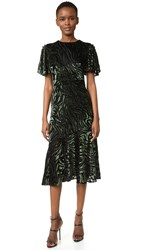 Prabal Gurung Short Sleeve Flared Skirt Dress With Side Slits Black Forest
