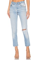 Re Done High Rise Ankle Crop Destructed Blue