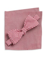 Tallia Orange Gingham Bow Tie And Pocket Square Set Red