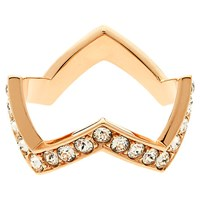 Melissa Odabash Rose Gold Plated Swarovski Crystal Zigzag Ring Rose Gold