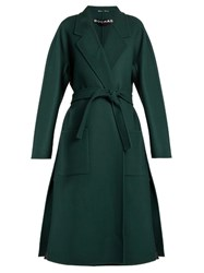 Rochas Double Faced Waist Tie Wool Coat Dark Green