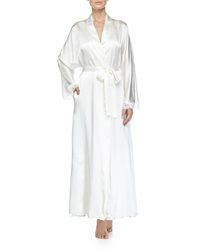 Christine Bijoux Lace Trimmed Long Robe Pearl