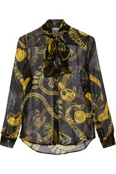 Moschino Printed Silk Chiffon Blouse Black