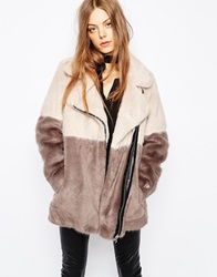 Urbancode Faux Fur Colour Block Biker Coat Pigletandshadow