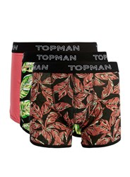 Topman Assorted Colours Leaf Print Trunks 3 Pack Multi
