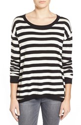 Junior Women's Bp. Stripe Scoop Neck Pullover Black Alice Stp