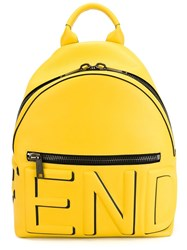 Fendi Embossed Logo Backpack Yellow And Orange