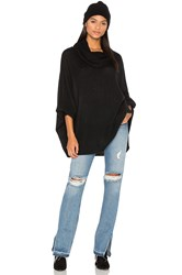 White Warren Funnel Neck Poncho Black