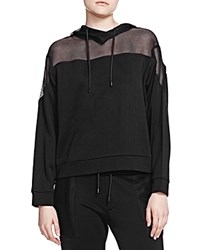 The Kooples Mesh Inset Hoodie Black