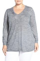 Sejour Plus Size Women's Space Dyed V Neck Sweater Navy Sapphire