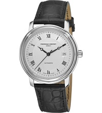 Frederique Constant Croc Embossed Leather Strap Watch Steel