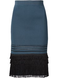 Yigal Azrouel Fringed Ribbed Knit Skirt Blue