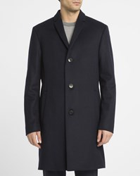 Calvin Klein Blue Wool And Cashmere Coat