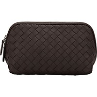 Bottega Veneta Women's Intrecciato Medium Cosmetic Case Dark Brown