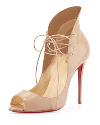 Christian Louboutin Mega Vamp Lace Up Red Sole Pump Nude Brown