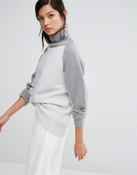 Neon Rose High Neck Relaxed Jumper In Colour Block Grey