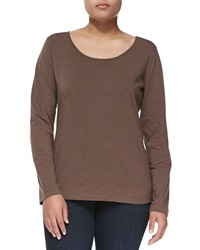 Escada Long Sleeve Scoop Neck Knit Blouse Brown Melange