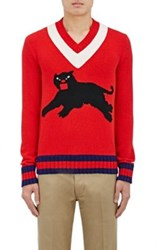 Gucci Men's Panther Graphic Wool Sweater Red No Color Red No Color