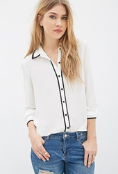 Forever 21 Contrast Piped Chiffon Blouse Cream Black