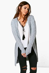 Boohoo Cable Knit Hooded Cardigan Grey