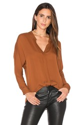 Vince Double Front Blouse Brown