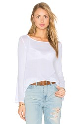 Enza Costa Stretch Crepe Jersey Bell Sleeve Boatneck Top White